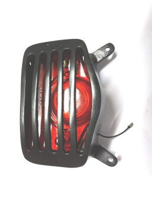 Bikers World Customised Heavy Metal Black Tail Light Grill for Royal Enfield Standard Rearlight Frame Support