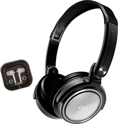 Coby Cvh-800-Wht 2-In-1 Jammerz Xtra Headphones And Earbuds With Case Headphones(Black)
