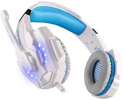 Foxnovo Kotion Each G9000 3.5Mm Game Gaming Headphone Headset With Microphone Led Light For Laptop Tablet Mobile Phone (+Blue) Headphones(White)
