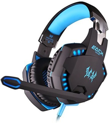 Foxnovo Each G2100 Professional Over-Ear Headband Stereo Bass Vibration Gaming Headphone Headset With Mic Led Lights For Pc Gamer (Black+Blue) Headphones(Blue)