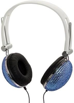 Crystal Case Aqua Blue Crystal Rhinestone Dj Headphones Headset Earphones Headphones