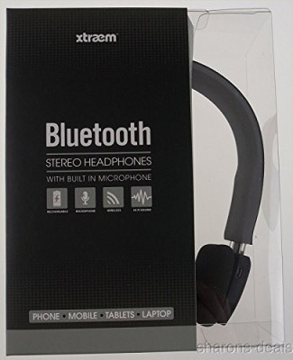 Xtraem Best Bluetooth Stereo Headphones, Black/Gray Headphones