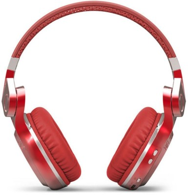 Bluedio T2 Plus Red Dynamic Wired & Wireless bluetooth Headphones(Red, On the Ear)