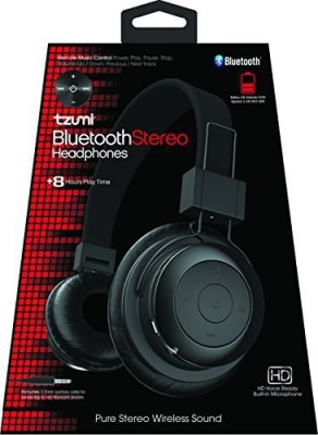 Tzumi Bluetooth - Stereo Foldable Rechargeable Wireless Headphones With Powerful Bass - Built In High Definition Microphone And Remote Wired bluetooth Headphones