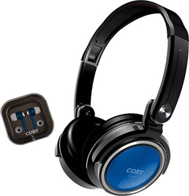 Coby Cvh-800-Blu 2-In-1 Jammerz Xtra Headphones And Earbuds With Case, Blue Headphones(Black)