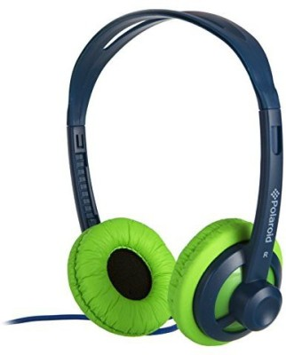 Polaroid Php11Blgr Super Light Weight Neon Headphones, Tangle-Proof, Compatible With All Devices, Blue Headphones