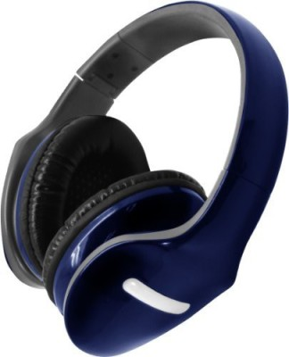 Hype Deluxe Folding Stereo Headphones - With Detachable Mic - Blue Headphones
