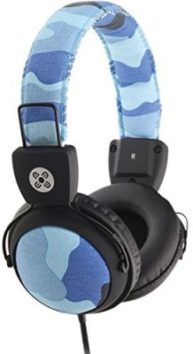 Moki Acchpcamb Camo Headphones With In-Line Mic And Control, Blue Headphones