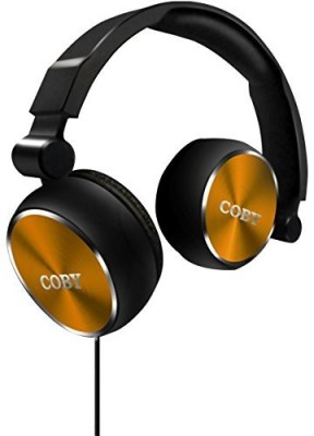 Coby Cvh-804-Gld Aluminum Foldz Headphones With Built-In Mic Headphones(Black)