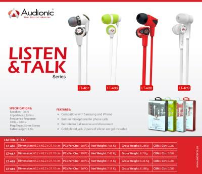 Audionic LT-486 Listen & Talk Series Wired Headphones
