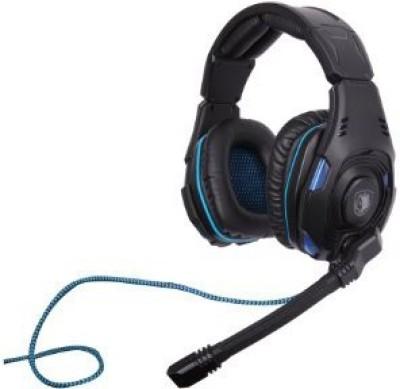 Sades Sa-907 Pc Gaming Headset W/ Microphone + Volume Control - Black/Blue Headphones(Black)