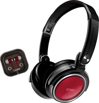 Coby Cvh-800- 2-In-1 Jammerz Xtra Headphones And Earbuds With Case Headphones(Black)