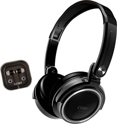 Coby Cvh-800-Blk 2-In-1 Jammerz Xtra Headphones And Earbuds With Case Headphones(Black)