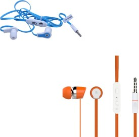 Candytech HF-S-20-OG+HF-FW-BU Stereo Dynamic Handsfree Gaming Wired Earphones Combo Wired Headphones