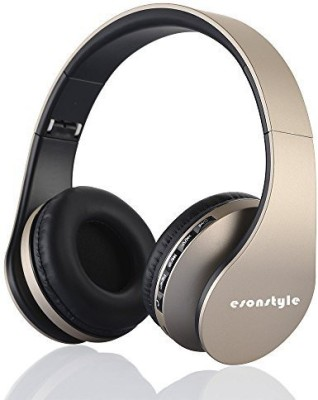 Esonstyle Esonstyle Headphone Stereo Dynamic Headphone Wired & Wireless bluetooth Headphones(Golden, Over the Ear)