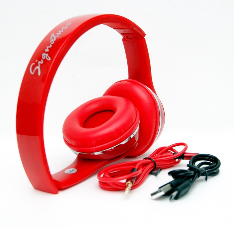 Signature VMB4 Stereo Dynamic Headphone Wired & Wireless bluetooth Headphones(Red, Over the Ear)
