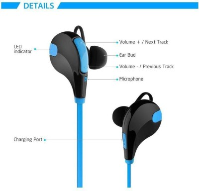 ROOQ QY7BU-007 stereo dynamic headphone bluetooth Headphones(Blue, In the Ear)