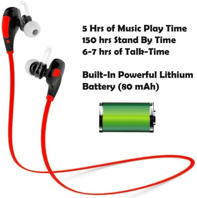 ROOQ QY7RE-008 stereo dynamic headphone bluetooth Headphones(Red, In the Ear)