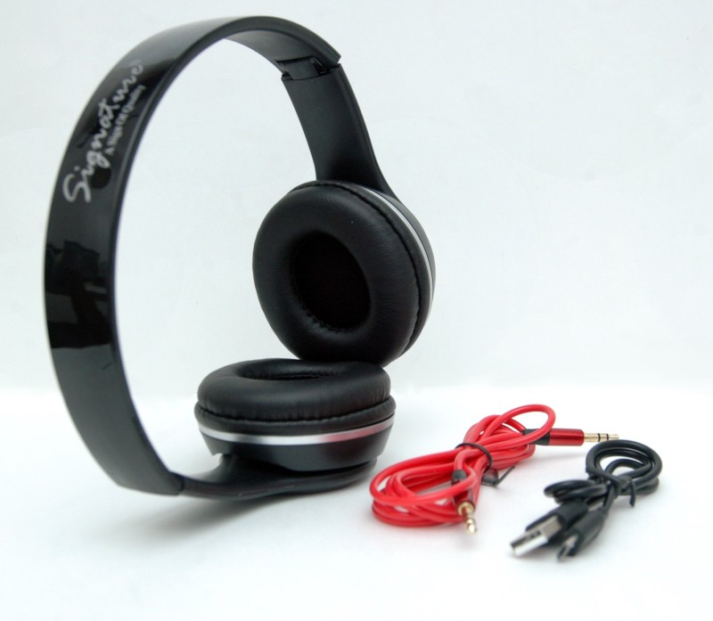 Signature VMB4 Stereo Dynamic Headphone Wired & Wireless bluetooth Headphones(Black, Over the Ear)