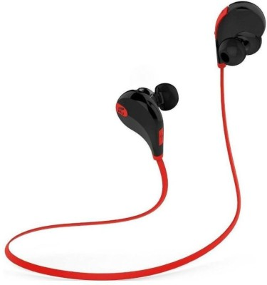 ROOQ QY7RE-011 stereo dynamic headphone Wireless bluetooth Headphones(Red, In the Ear)