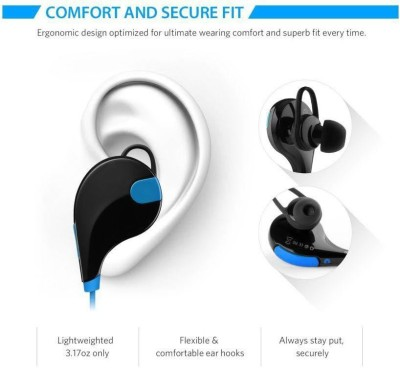 ROOQ QY7BU-019 stereo dynamic headphone bluetooth Headphones(Blue, In the Ear)