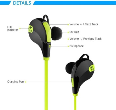 ROOQ QY7GR-006 stereo dynamic headphone bluetooth Headphones(Green, In the Ear)