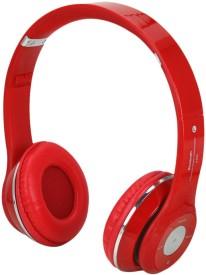 Aja Retail S460 HIGH BASS Stereo Dynamic Headphone bluetooth Headphones(Red, Over the Ear)