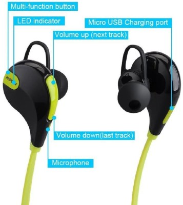 ROOQ QY7GR-016 stereo dynamic headphone bluetooth Headphones(Green, In the Ear)