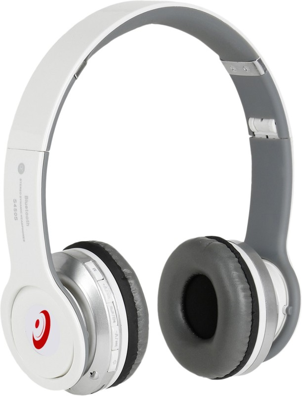 Head Kik Exclusive Quality Bluetooth Solo S450 With Memory Card Slot Stereo Dynamic Wireless bluetooth Headphones(White, On the Ear)