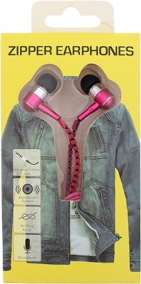 Goldendays Creations Zip Style Pink Earphone Stereo Wired Headphones Wired Headphones