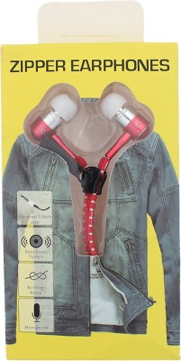 Goldendays Creations Zip Style Red Earphone Stereo Wired Headphones Wired Headphones