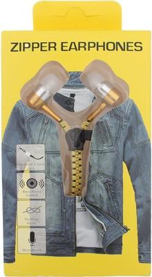 Goldendays Creations Zip Style Yellow Earphone Stereo Wired Headphones Wired Headphones