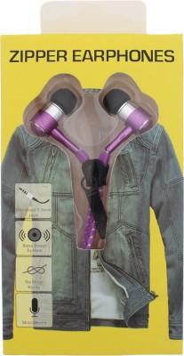 Goldendays Creations Zip Style Magenta Earphone Stereo Wired Headphones Wired Headphones