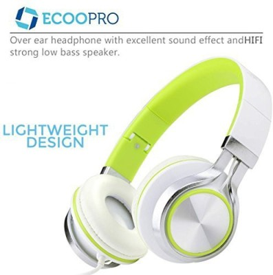 Ecoopro Lightweight Portable Adjustable Wi Over Ear Stereo Headphones Earphone For Mp3 Mp4 Pc Tablets Cell Phones (Green) Headphones