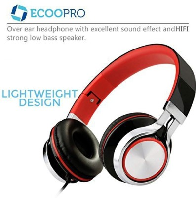 Ecoopro Lightweight Portable Adjustable Over Ear Stereo Earphone Headphones Headset For Pc Mp3 Mp4 Tablet Most Smart Phone (Black/) Headphones