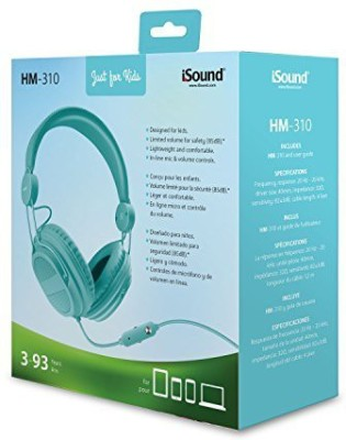 Isound Dghp-5537 Kid Friendly Headphones With Mic And Music Volume, Turquoise Headphones
