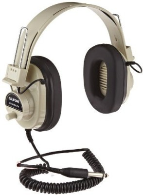 Califone Deluxe Mono Headphones With Volume Control And Permanent Coiled Cord Headphones