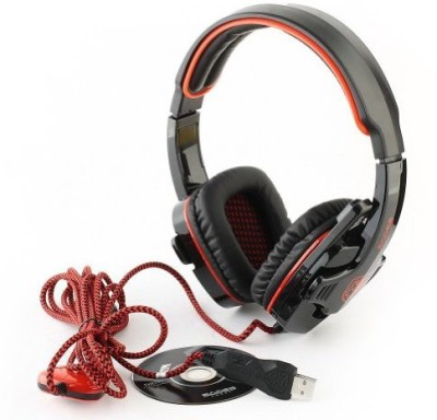 Sades Sa-901 Pc Gaming Headset W/ Microphone + Volume Control - Black/ Headphones(Red)