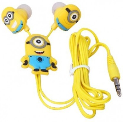 A Connect Z Minions Cartoon Design AcZ Great sound Base Stud ZR-160 Wired Headset With Mic(Yellow)