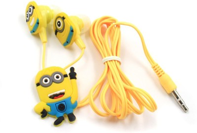 A Connect Z Minions Cartoon Design AcZ Best sound Base AR-158 Wired Headset With Mic(Yellow)
