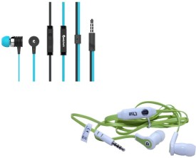 Candytech Stereo Dynamic Handsfree Gaming Wired Earphones Combo HF-S-40-BU+HF-FW-GN Wired Headset
