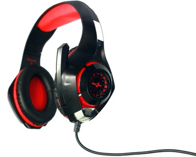 Red Gear Hell Storm professional Gaming Headphones with LED Effect, In-line Volume controller and Retractable microphone. Wired Headset With Mic(Red, Black)