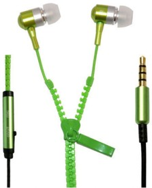 YND Zipper Handfree For Samsung Galaxy S6 - Green Wired Headset