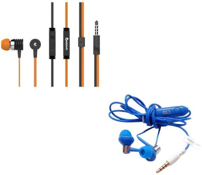Candytech Stereo Dynamic Handsfree Gaming Wired Earphones Combo HF-S-40-OG + HF-BS-BU Wired Headset