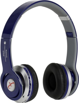 Head Nik Stereo Dynamic Wireless Bluetooth Headset With Mic(Blue, Silver)