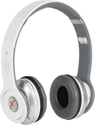 Head Nik Stereo Dynamic Wireless Bluetooth Headset With Mic(White, Grey)