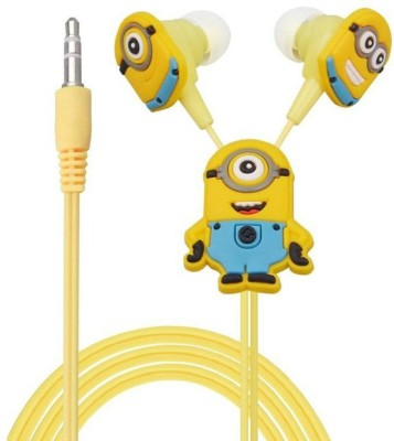 A Connect Z Cartoon Design Minions Good Quality sound ZR Headst- 709 Wired Headset With Mic(Yellow)