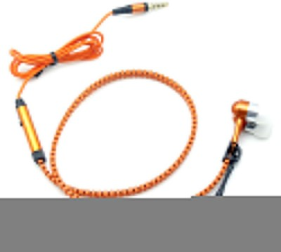 Wellcare Zipper Handfree For Micromax Canvas Viva A72 Wired Headset With Mic(Orange)