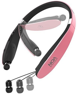 Mosche Wireless Headphones Bluetooth, NOA Bluetooth 4.1 Wireless Stereo Headsets with Retractable Earbuds for Cell Phone (Pink) Wireless Bluetooth Headset With Mic(Pink)