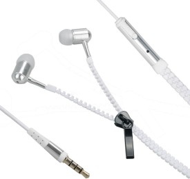 YND Zipper Handfree For Micromax Ninja-4 A87 - White Wired Headset